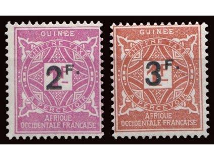 Guinee, 1927, 2Fr/1Fr-3Fr/1Fr doplatní, * po nálepce