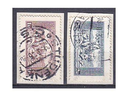 1934, 1-2Kč série z aršíku KDM, Nr.283-4, výstřižky