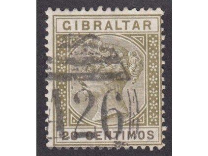 Gibraltar, 20C Viktoria, MiNr.30, razítkované