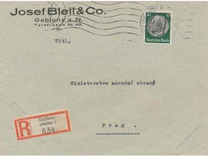 Gablonz, 1939, DR Gablonz, R-dopis zaslaný do Prahy