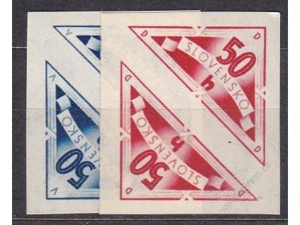 1940, 50h modrá a červená Doruční, dvojička, Nr.DR1-2, **