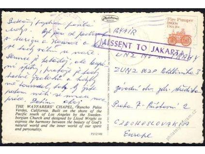 USA, 1982, pohlednice zasl. do Prahy, Missent