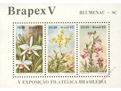 Brazílie, 1982, aršík Květiny, MiNr.Bl.49, **