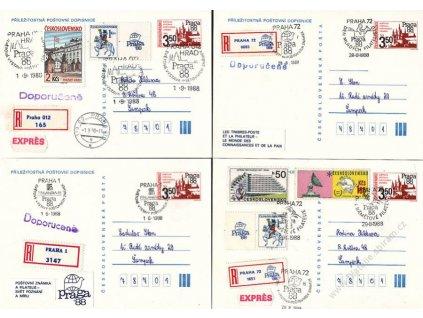 1988, Praha, Výstava známek, 4 ks dopisnic, rekomando