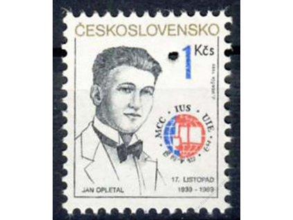1989, 1Kčs Jan Opletal, Nr.2916, ** , průpich