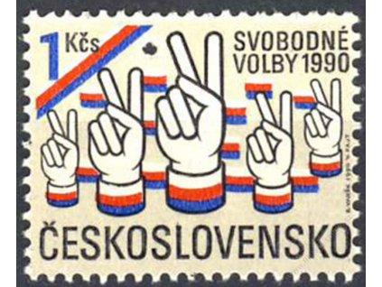 1990, 1Kčs Svobodné volby, Nr.2942, ** , průpich