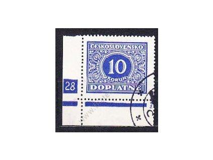 10Kč modrá, levý roh. kus s DČ 28, Nr.DL65, raz.