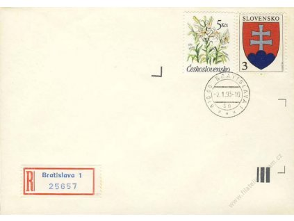1993, DR Bratislava, dopis, smíšená frankatura, neprošlé