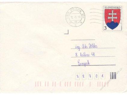 1993, DR Praha, dopis vyfr. slovenskou známkou