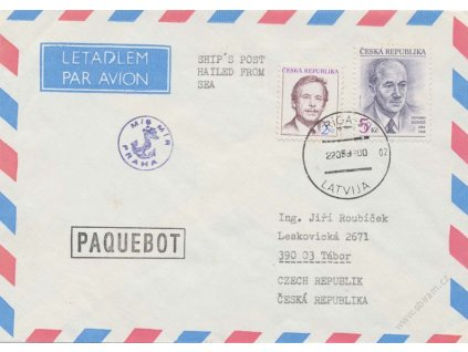 1993, let. dopis zaslaný z lodi M/S Mír Praha z Rigi