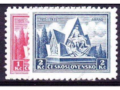 1935, 1-2Kč Arras, série, Nr.289-90, * po nálepce