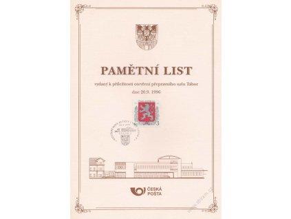 1996, Tábor, Otevření přepravního uzlu Tábor, pamětní list, A4