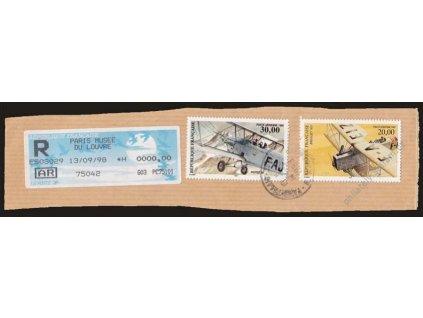 1997/98, výstřižek vyfr. leteckými známkami