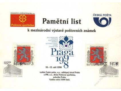 1998, Praha, pamětní list Praga 1998, A5