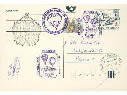 2000, Praha, Horkovzdušný balon, dopisnice