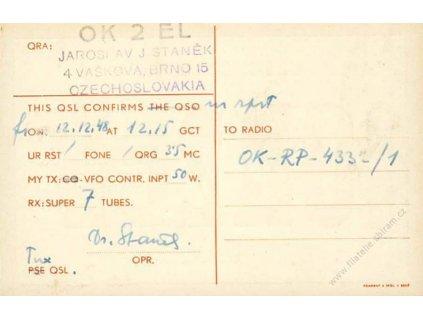 Potvrzení spojení, 1948, karta
