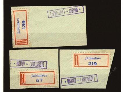 Milíkov * (Jablunkov), 3 ks výstřižků s razítky