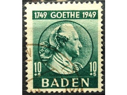 Baden, 1949, 10Pf Goethe, razítkovaná