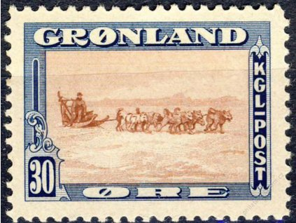Grónsko, 1945, 30Q Polární psi, MiNr.13, **
