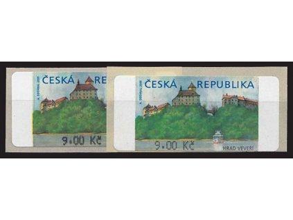 2000, 9Kč Veveří, silný a slabý tisk hodnoty, Nr.AU 1B