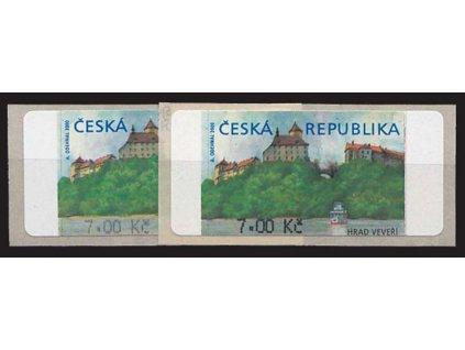 2000, 7Kč Veveří, silný a slabý tisk hodnoty, Nr.AU 1B