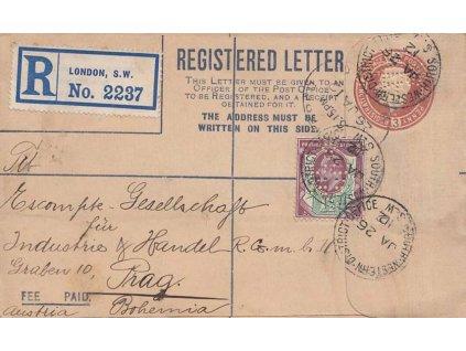 Anglie, 1912, DR London, perfin na známce a celinové obálce