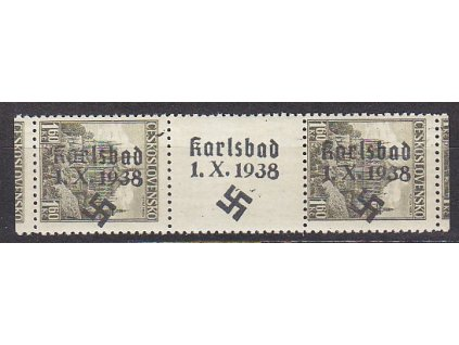 1.60Kč Kutná Hora, meziarší s přetiskem KARLSBAD 1.X.1938, **/*