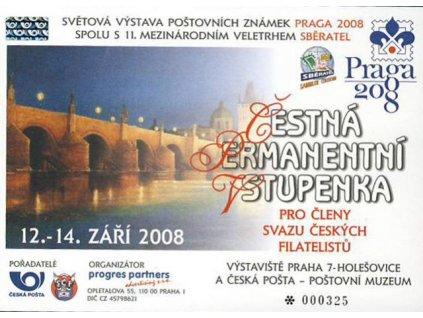 2008, Praga 2008, čestná vstupenka