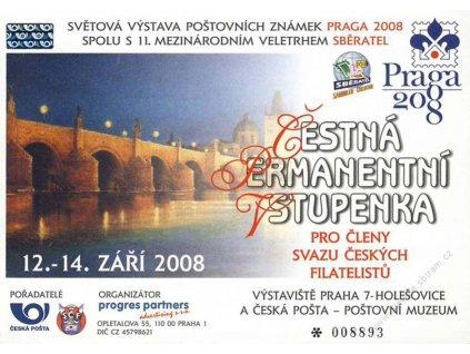 2008, Sběratel Praha, Čestná permanentní vstupenka