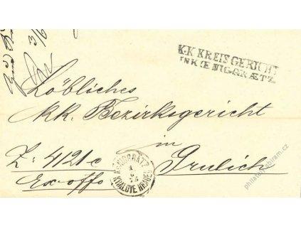 Hradec Králové, skládaný dopis z roku 1875