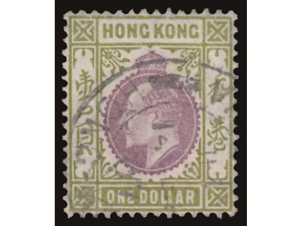 Hong kong, 1904, 1Dollar Eduard, MiNr.86, razítkované
