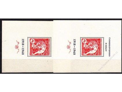 1968, aršík 50 let ČSR, 2 ks, mřížkovaný a hladký, Nr.A1721, **