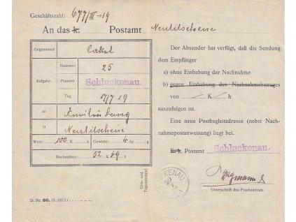 1919, DR Schluckenau 29.7.19, formulář D. Nr. 80. (X./1912.)