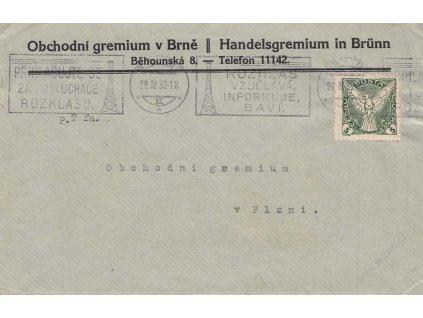 1932, DR Brno, novinový tiskopis (obálka) vyfr. zn. 5h Sokol