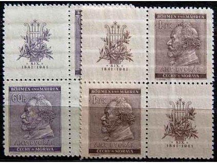 1941, 60h-1.20K Dvořák, Nr.62-3, VK-19, **