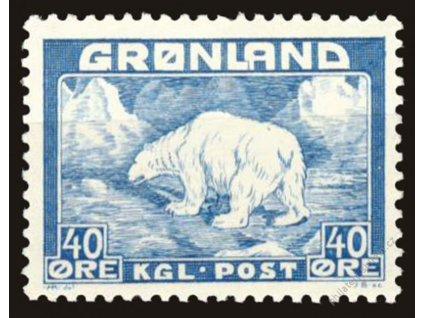Grónsko, 1946, 40Q Medvěd, MiNr.27, **