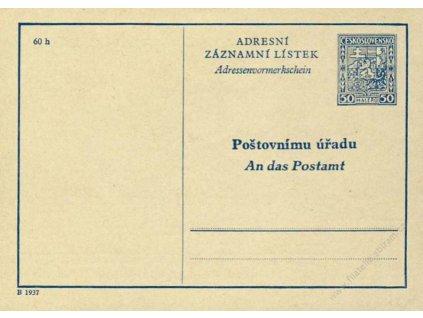 CAZ 1B Adresní záznamní lístek, Pof.1500Kč, dv