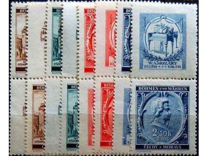1941, 30h-2.50K Mozart, horní a dolní kupony, **