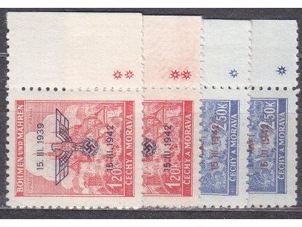 1942, 1.20-2.50K 3.výročí protektorátu s okraji, komplet křížky a hvězdičky, Nr.72-3, **