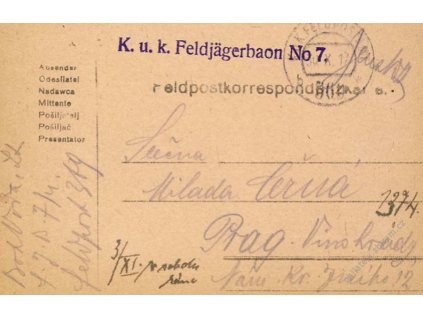 No.369b, lístek PP, zasláno v roce 1917 do Prahy