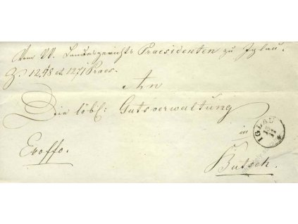 Iglau, skládaný dopis z roku 1850