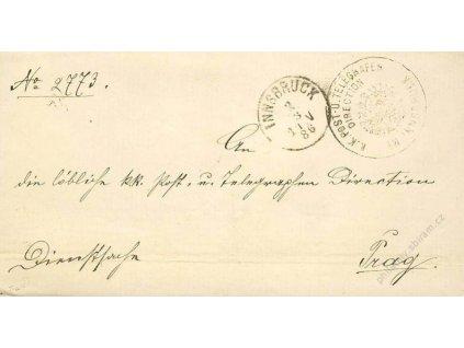 Innsbruck, dopis z roku 1886, stopy pošt. provozu