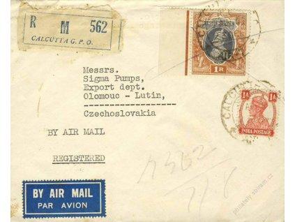 Indie, 1947, DR Calcutta, R-let. dopis