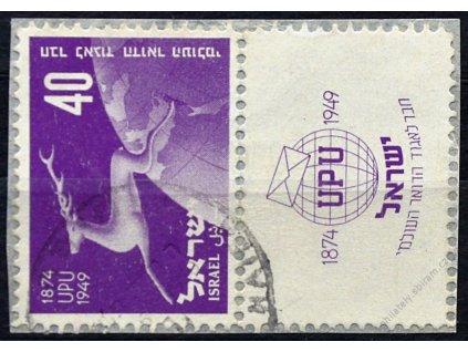 Israel, 1950, 40Pr UPU s kuponem, razítkované