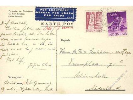 Indonesia, 1953, DR Djakarta, let. pohlednice