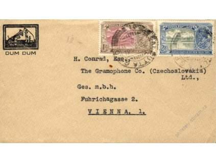 Indie, 1935, DR Calcutta, dopis, zasl. do Vídně