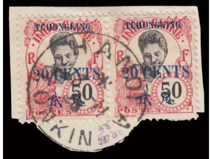 Indochina, 1908, 50C s přetiskem TCHONGKING, razítkované