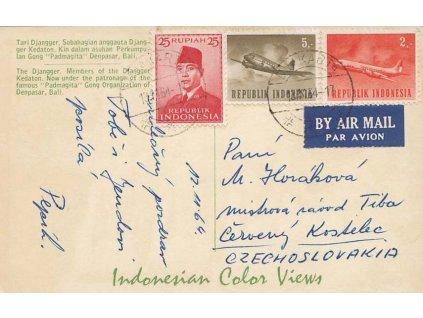 Indonésie, 1967, DR Jakarta, let. pohlednice zaslaná do ČSSR