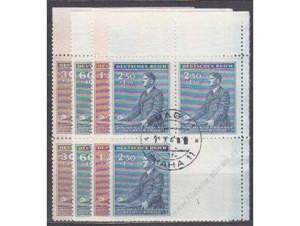 30h-2.50K Hitler, pravé horní roh. 4bloky, VK-4, Nr.74-7, razítkované
