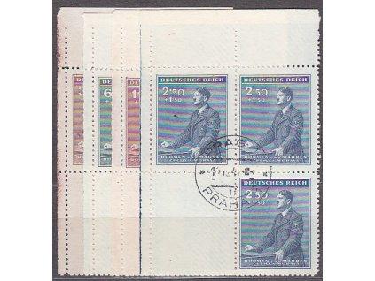 30h-2.50K Hitler, levé horní roh. 4bloky, Nr.74-7, razítkované